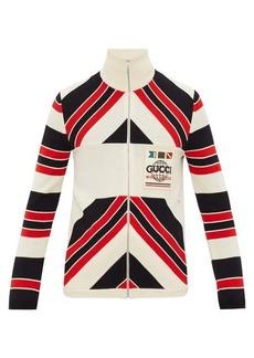 Gucci Worldwide logo-patch striped wool cardigan