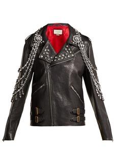 Gucci Yankees crystal-embellished leather biker jacket
