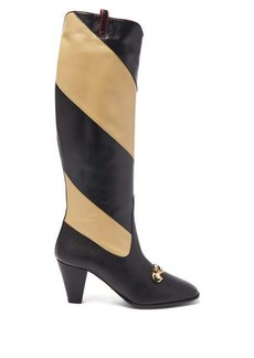 Gucci Zumi GG striped-leather boots