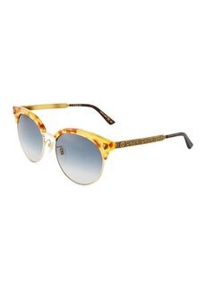 Gucci Half-Rim Metal Tiger Sunglasses with Gradient Lenses
