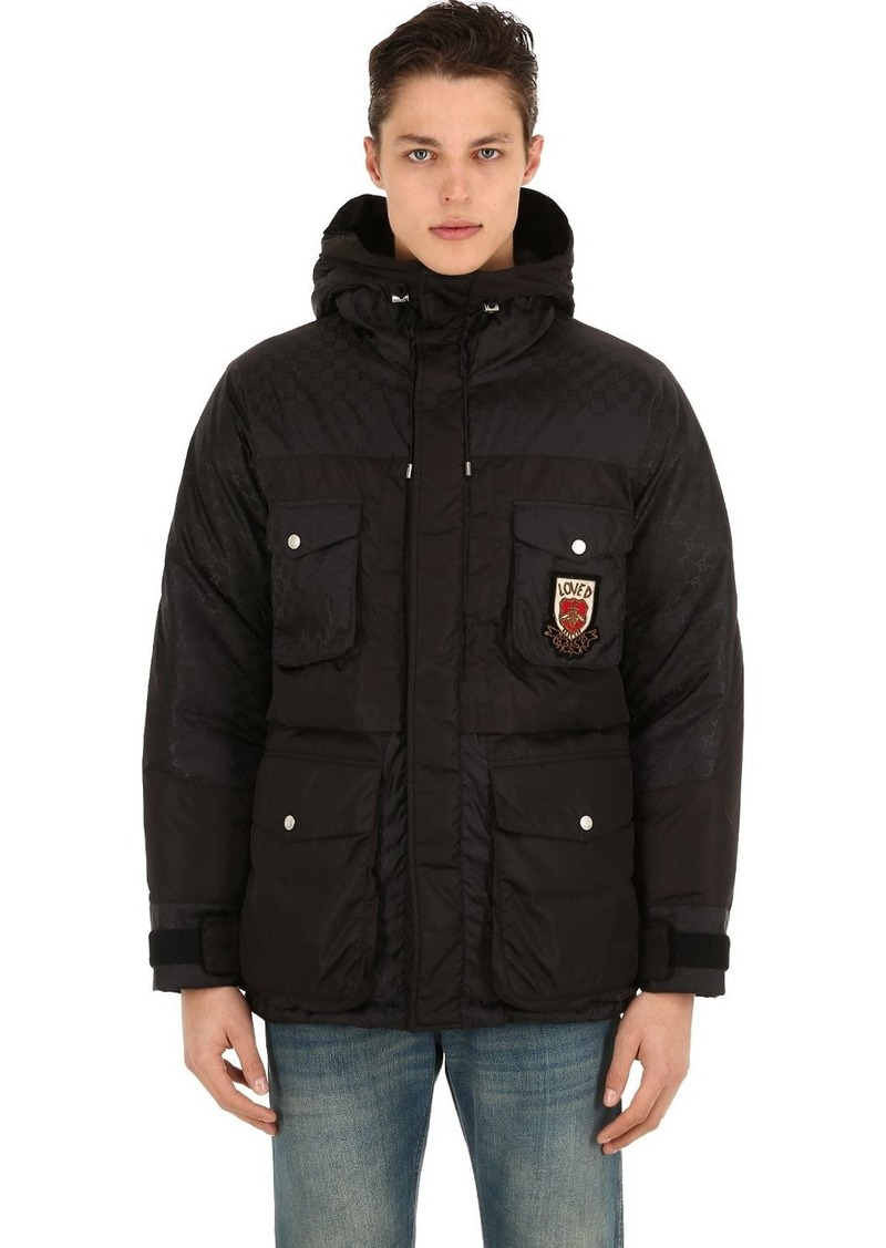 ecfe1959808a Gucci Hooded Logo Printed Nylon Down Jacket