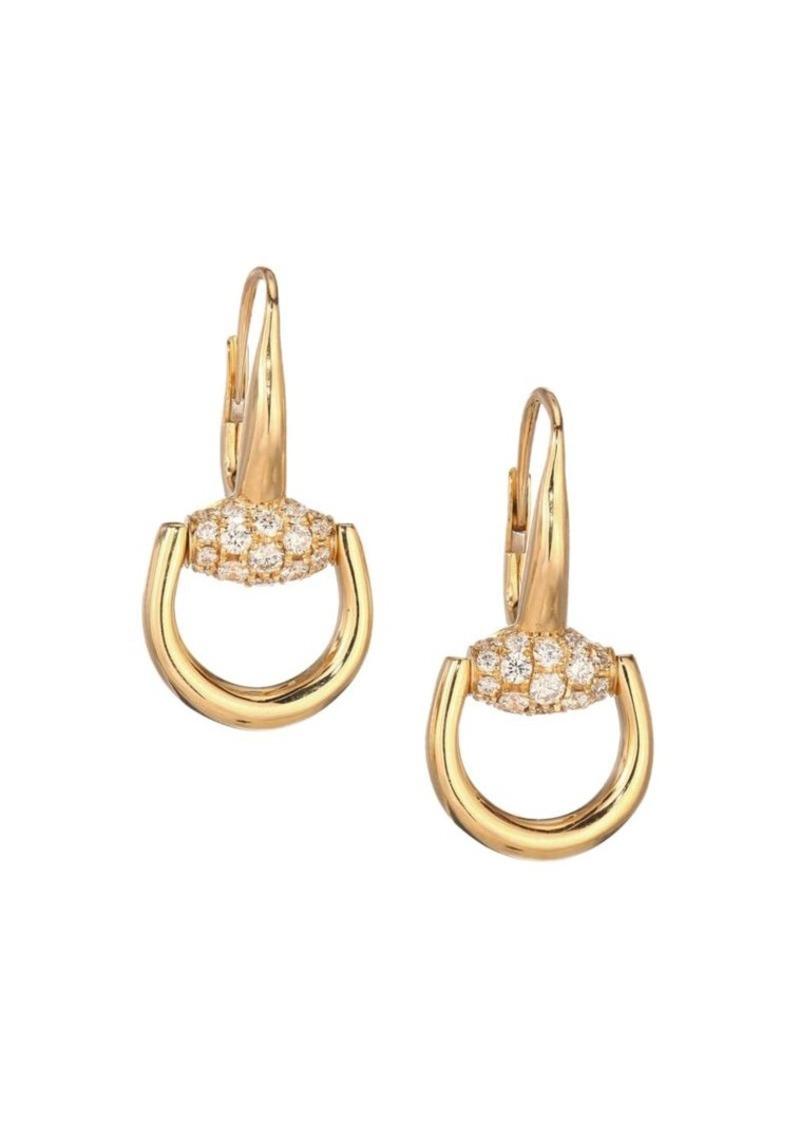 944ab576d Gucci Horsebit Diamond & 18K Yellow Gold Drop Earrings | Jewelry