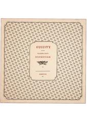 ivory and black Gucci invite print silk scarf