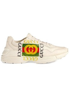 ivory Rhyton Gucci logo leather sneaker