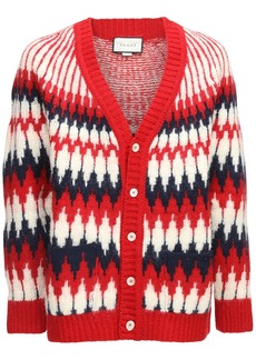 Gucci Jacquard Wool Knit Cardigan
