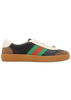 Gucci G74 Leather Sneakers W/ Web Details