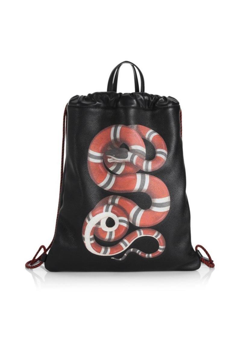 3c77e2a6ede Gucci Kingsnake Leather Drawstring Backpack