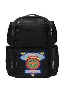 black Large backpack with Gucci '80s patch