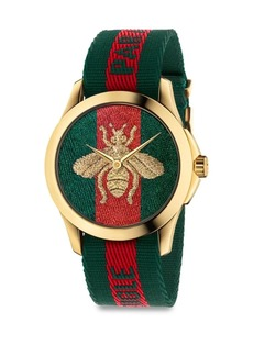 Gucci Le Marché Des Merveilles Bee Yellow Goldtone PVD and Striped Nylon Strap Watch