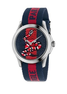 Gucci Le Marché Des Merveilles Snake Stainless Steel & Striped Nylon Strap Watch