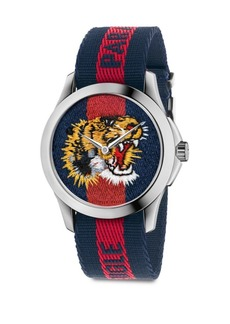 Gucci Le Marché Des Merveilles Tiger Stainless Steel & Striped Nylon Strap Watch