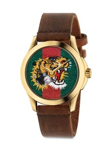 Gucci Le Marché Des Merveilles Tiger Yellow Goldtone PVD & Leather Strap Watch