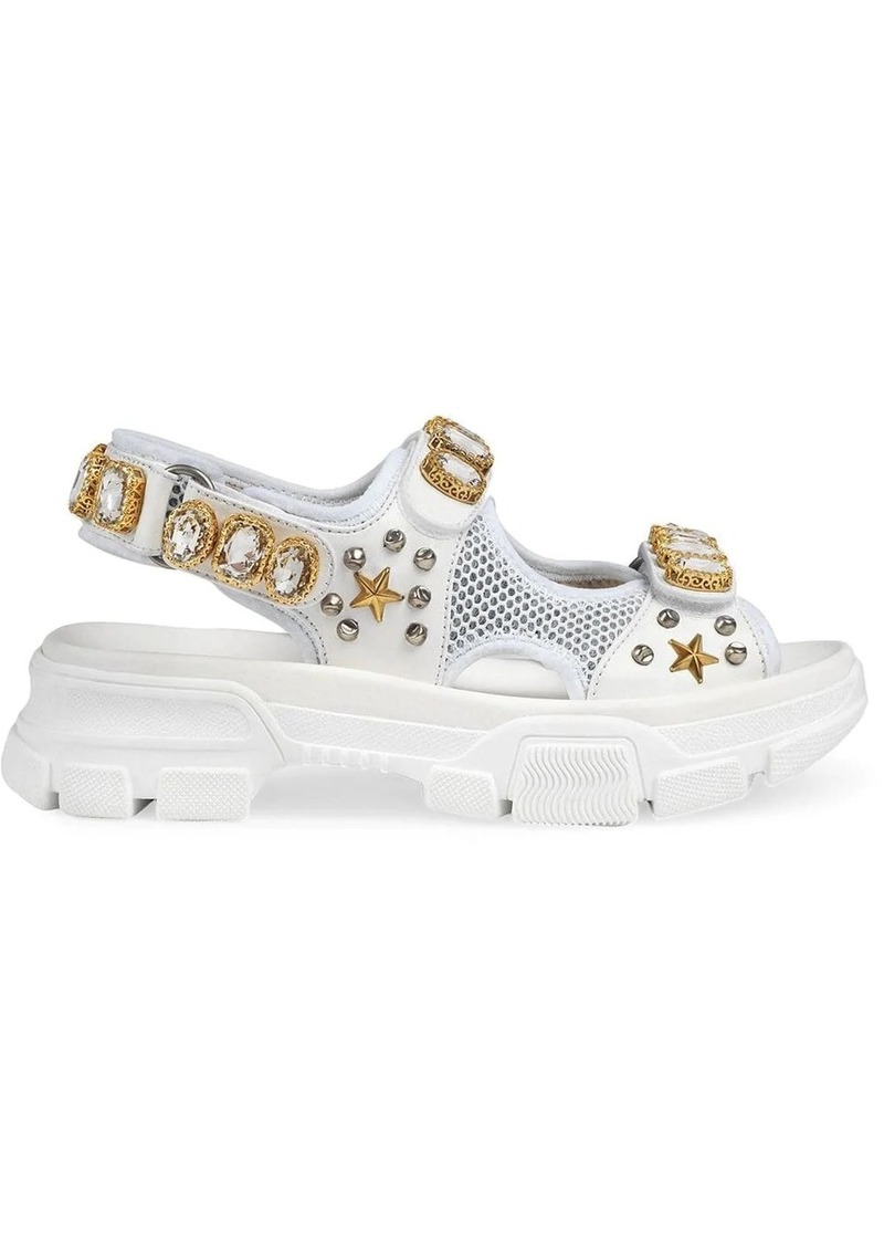 Gucci Leather and mesh sandal with crystals