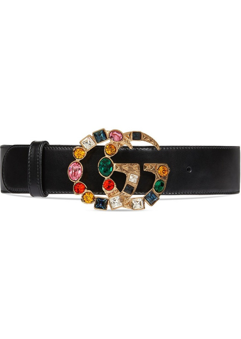 90fbfcfaff5 Gucci Leather belt with crystal Double G buckle