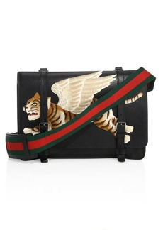 Gucci Leather Messenger Bag with Tiger Appliqué