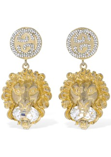 Gucci Lion Head Crystal Clip-on Earrings