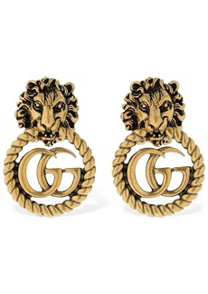 Gucci Lion Head Vintage Gg Running Earrings