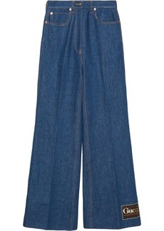 Gucci logo label flared jeans