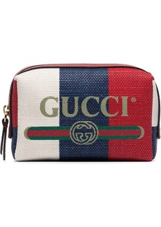 Gucci logo print stripe linen makeup bag