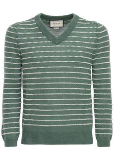 Gucci Logo Striped Alpaca Blend Knit Sweater