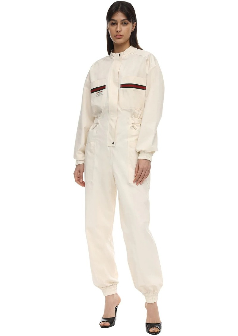 Gucci Long Cargo Canvas Jumpsuit