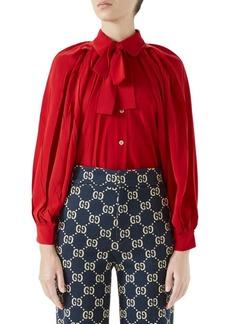 Gucci Long-Sleeve Bow Detail Silk Shirt