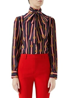 Gucci Long-Sleeve Chain-Tie Neck Silk Blouse