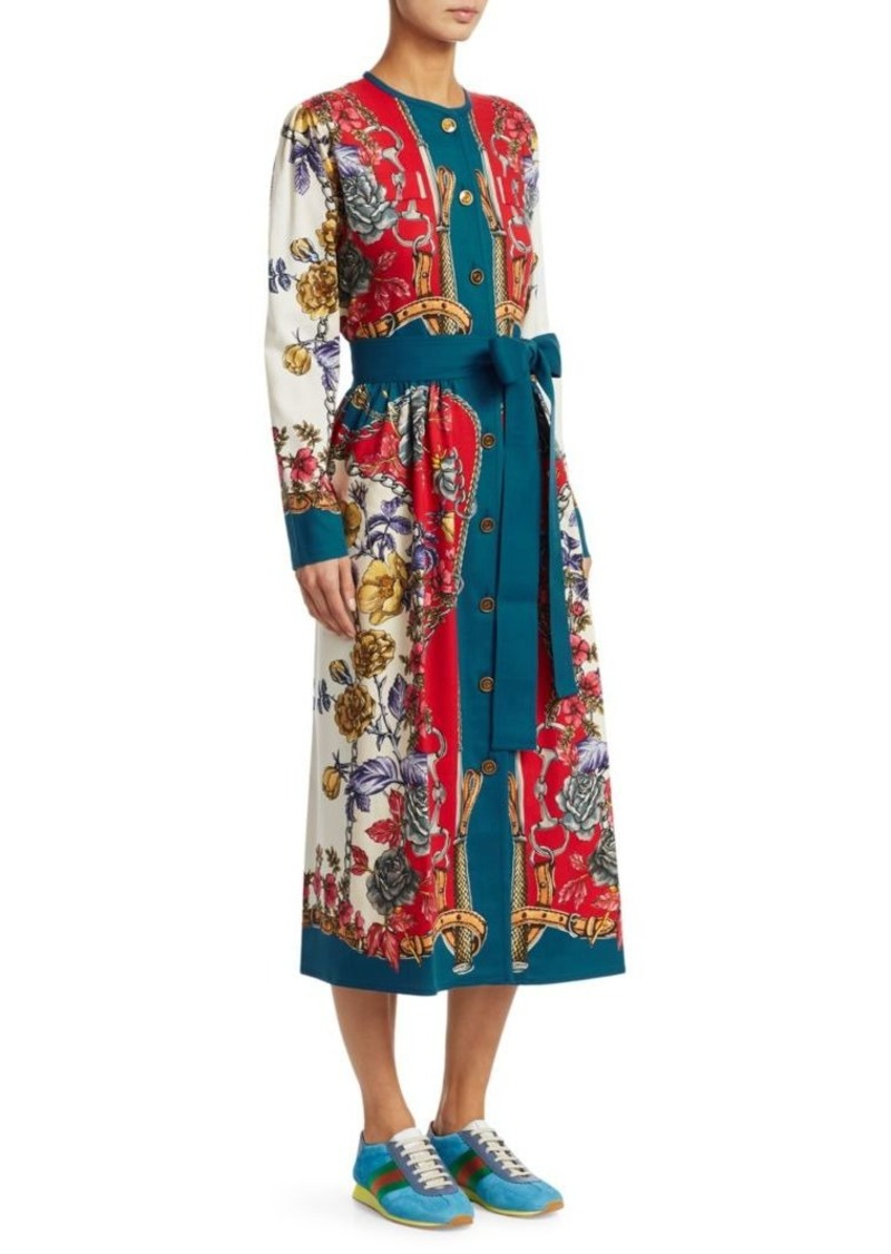 6419baaa7 Gucci Long-Sleeve Silk Twill Border Detail Floral Dress | Dresses