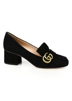 Gucci Marmont GG Suede Block Heel Pumps