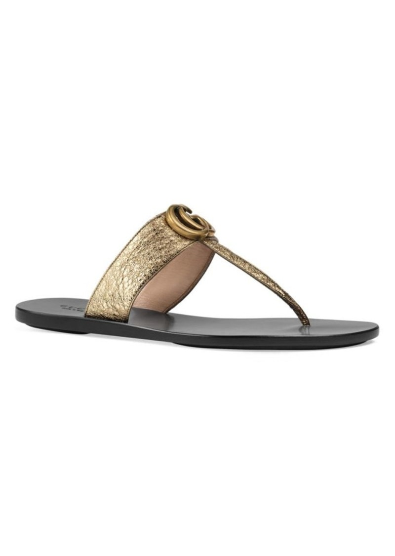 3c3115e98971 Gucci Leather Thong Sandals With Double G