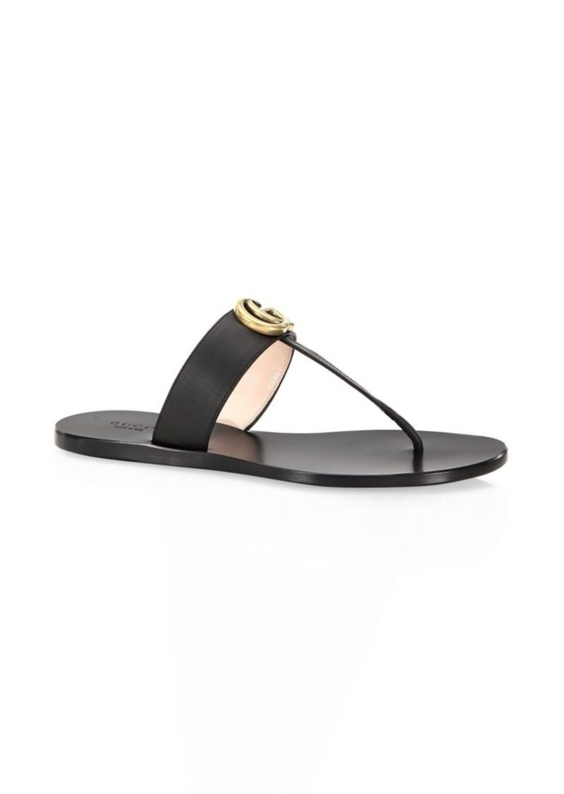 b6124080962 Gucci Leather Thong Sandals With Double G
