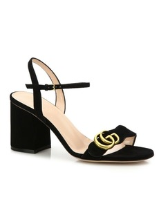 Gucci Marmont Suede Block Heel Sandals