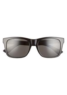Men's Gucci 55mm Polarized Rectangular Sunglasses - Shiny Black/ Grey