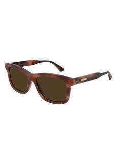 Men's Gucci 55mm Rectangular Sunglasses - Reddish Havana/ Brown