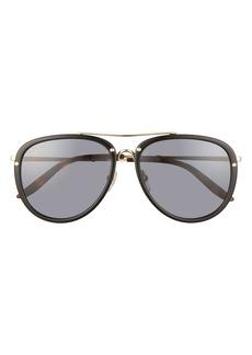 Men's Gucci 56mm Aviator Sunglasses - Black/ Shiny Endura Gold/ Grey