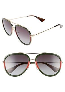 Men's Gucci 57mm Aviator Sunglasses - Medium Gold