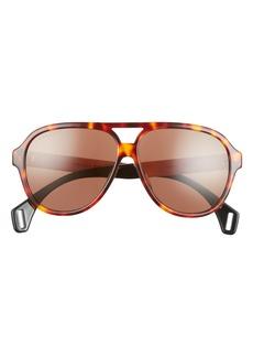 Men's Gucci 59mm Aviator Sunglasses - Shiny Red Havana/ Brown