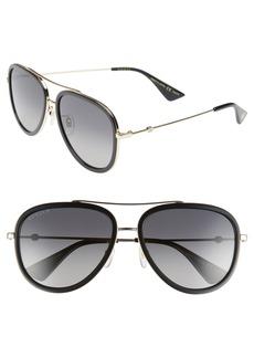 Men's Gucci Web Block Pilot 57mm Polarized Aviator Sunglasses - Gold/ Black