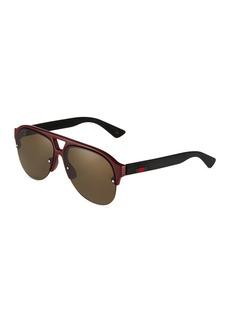 Gucci Men's Half-Rim Acetate/Metal Aviator Sunglasses