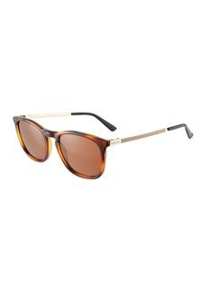 Gucci Men's Square Plastic/Metal Sunglasses