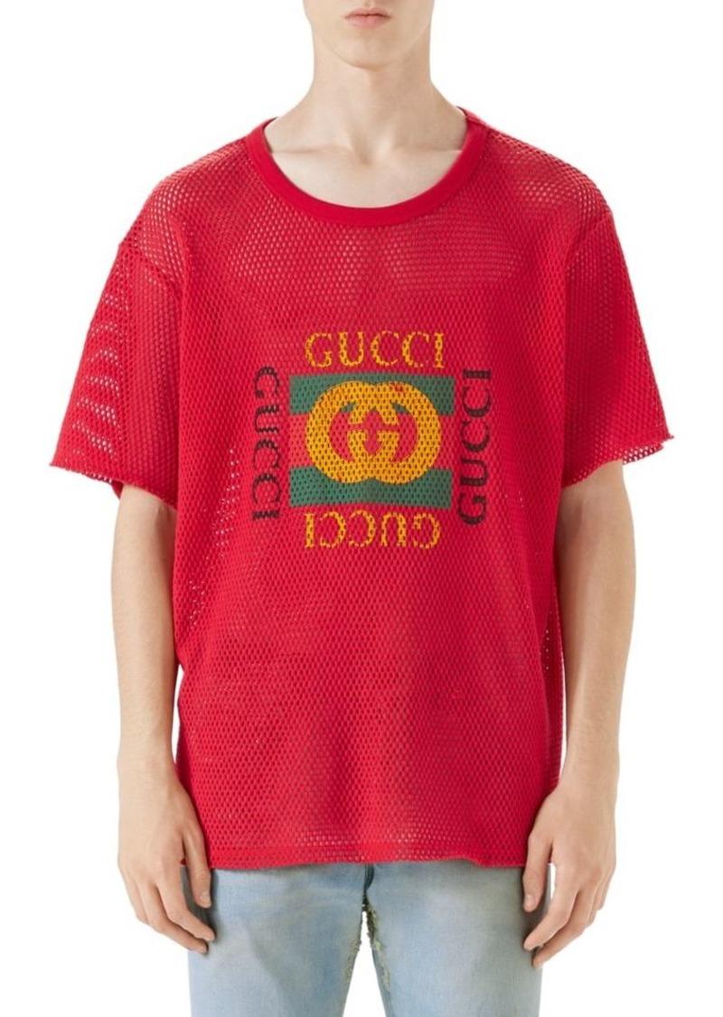 1c79c79bf Gucci Mesh Gucci Print Tee | T Shirts