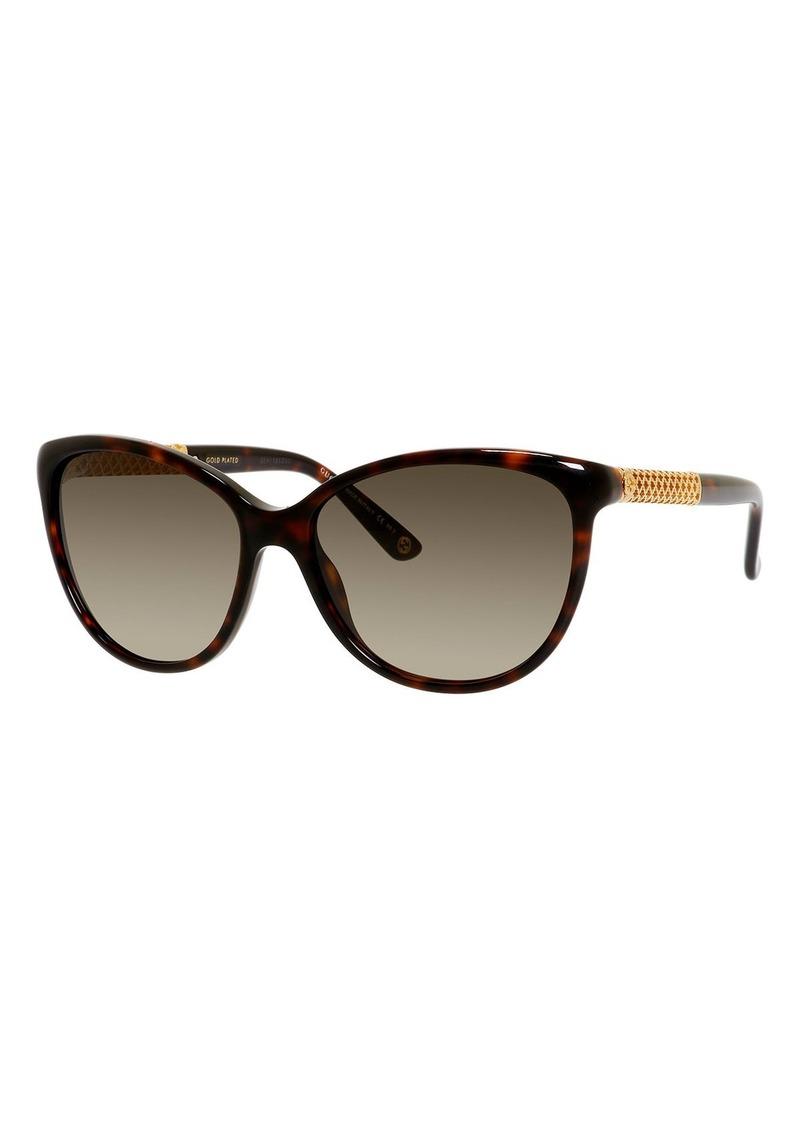 99ee8d3b0d252 Gucci Metal-Trim Diamantissima Cat-Eye Sunglasses Tortoiseshell ...