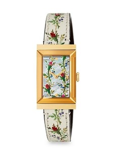 Gucci Mother-Of-Pearl Floral Leather Strap Watch