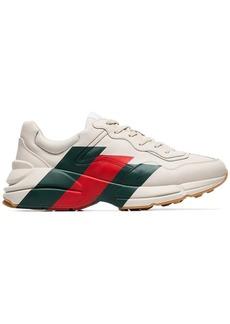 Gucci mystic white Rhyton three stripe leather sneakers
