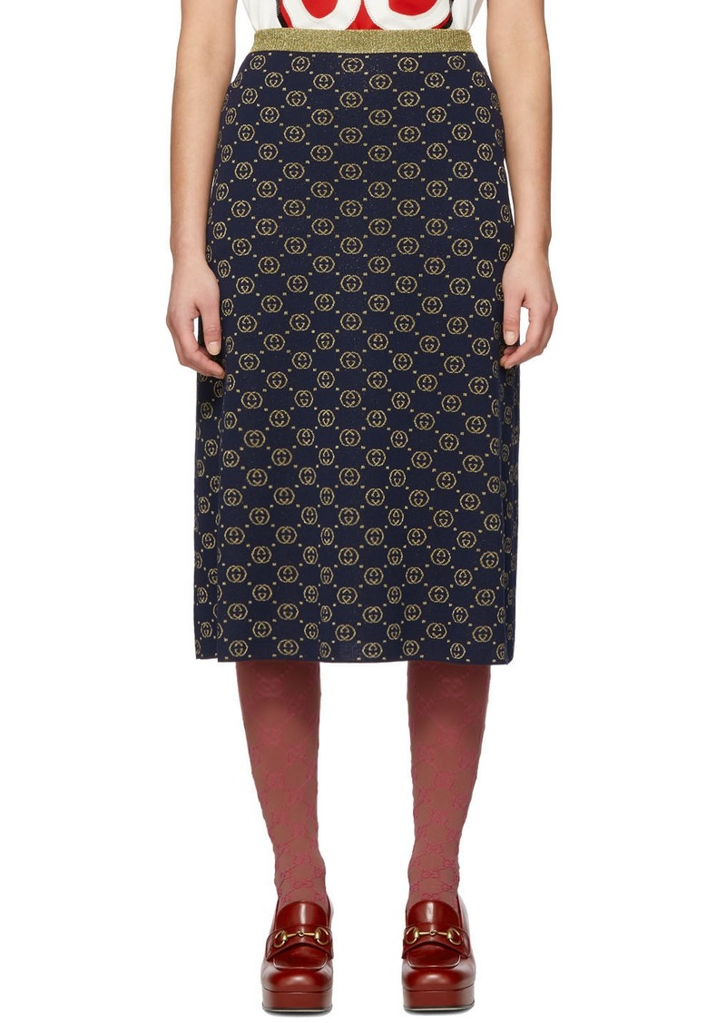 Gucci Navy & Gold Wool GG Skirt