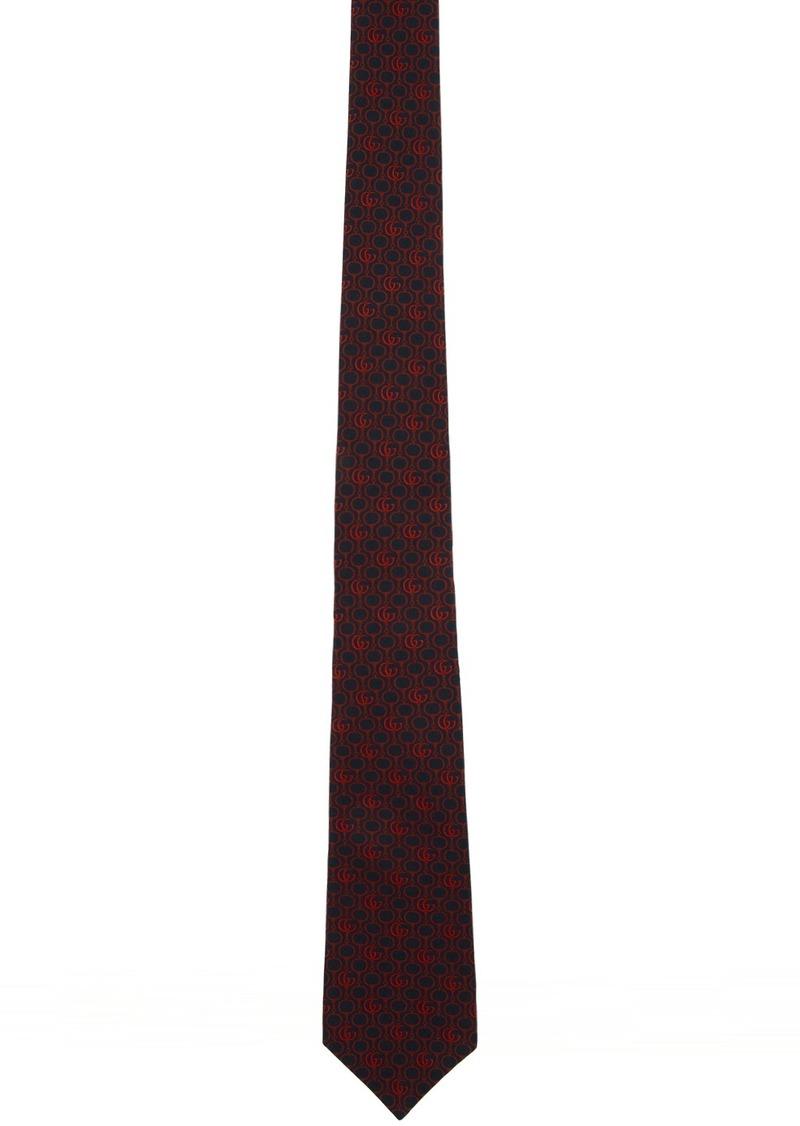 Gucci Navy & Red Silk GG Horsebit Chain Tie