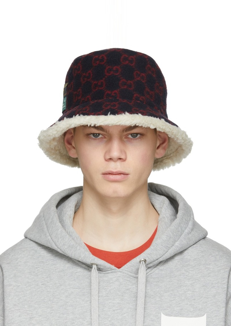 Gucci Navy & Red Wool GG Bucket Hat