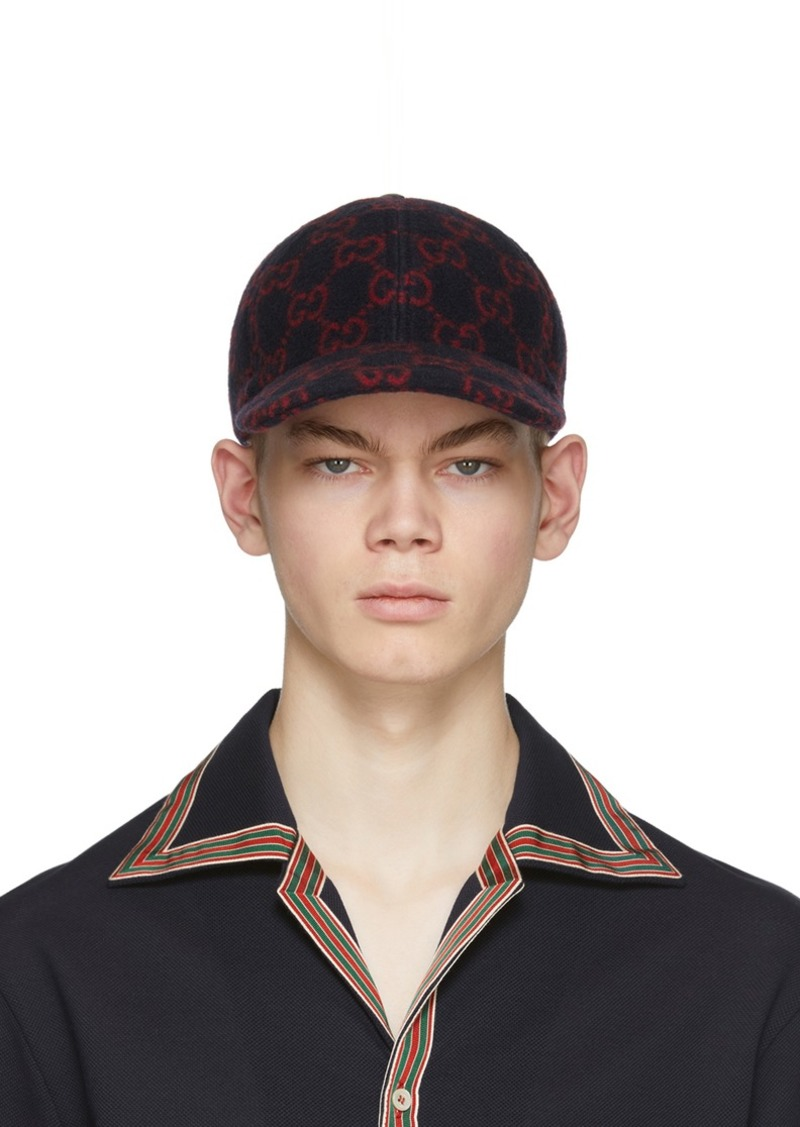 Gucci Navy & Red Wool GG Cap