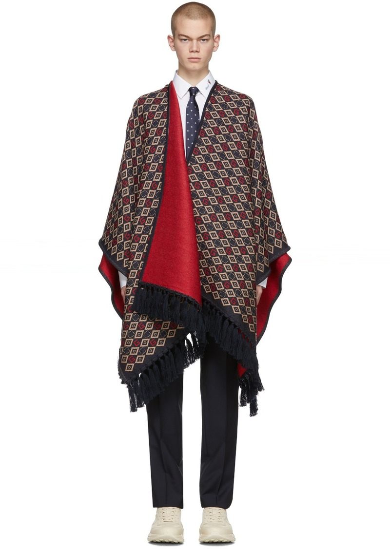 Gucci Navy & Red Wool Poncho