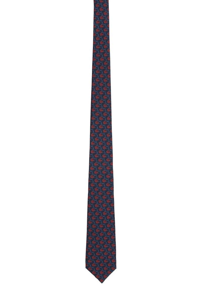 Gucci Navy GG Anchor Tie